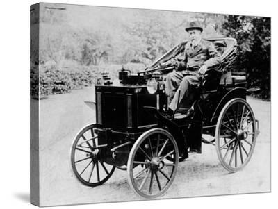 Evelyn Ellis Driving an 1895 Panhard, (1895)--Stretched Canvas Print