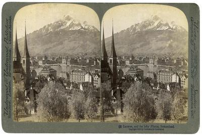 Lucerne and Mount Pilatus, Switzerland, 1903-Underwood & Underwood-Framed Giclee Print