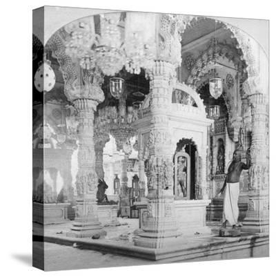 Interior of the Temple of Babulnath, Bombay, India, 1901-BW Kilburn-Stretched Canvas Print