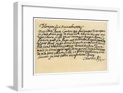 Letter from Charles Edward Stuart to His Brother Henry Benedict, 2nd November 1784-Charles Edward Stuart-Framed Giclee Print