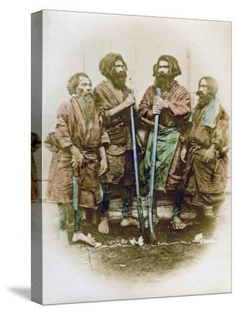 Group of Ainu People, Japan, 1882-Felice Beato-Stretched Canvas Print