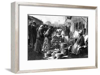 A View of the Flea Market at the Entrance of St Ouen, Paris, 1931-Ernest Flammarion-Framed Giclee Print