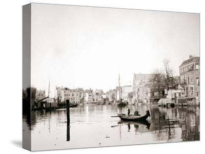 Boat on the Canal, Dordrecht, Netherlands, 1898-James Batkin-Stretched Canvas Print