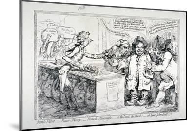 Bank-Notes, Paper Money, French Alarmists..., 1797-James Gillray-Mounted Giclee Print