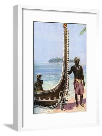 War Canoe, Solomon Islands, C1923-HJ Shepstone-Framed Giclee Print