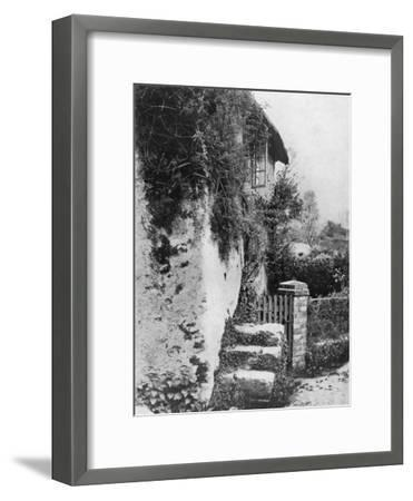 A Cottage with an Ancient 'Upping Stock, Cockington, Devon, 1924-1926-HJ Smith-Framed Giclee Print