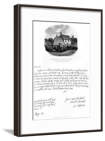 A Letter from Addison, and a View of His Birthplace, Late 17th-Early 18th Century-Joseph Addison-Framed Giclee Print