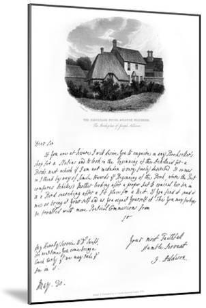 A Letter from Addison, and a View of His Birthplace, Late 17th-Early 18th Century-Joseph Addison-Mounted Giclee Print