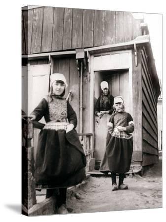 Girls in Traditional Dress, Marken Island, Netherlands, 1898-James Batkin-Stretched Canvas Print