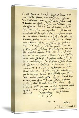 Letter from Martin Luther to Thomas Cromwell, 9th April 1536-Martin Luther-Stretched Canvas Print