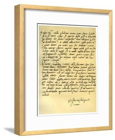 Letter from Michelangelo Buonarroti to His Father, June 1508-Michelangelo Buonarroti-Framed Giclee Print