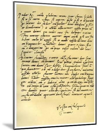 Letter from Michelangelo Buonarroti to His Father, June 1508-Michelangelo Buonarroti-Mounted Giclee Print