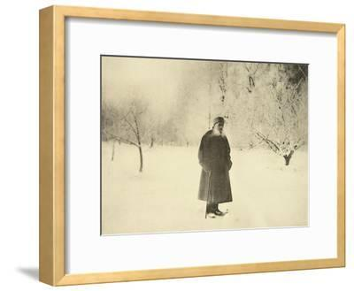Russian Author Leo Tolstoy Taking a Winter Walk, 1900s-Sophia Tolstaya-Framed Giclee Print