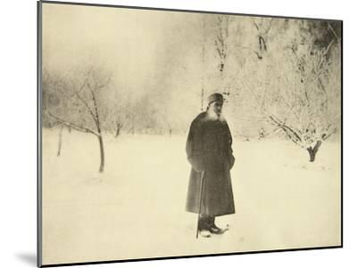 Russian Author Leo Tolstoy Taking a Winter Walk, 1900s-Sophia Tolstaya-Mounted Giclee Print