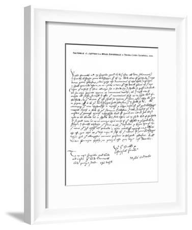 A Letter from Miles Coverdale, Bishop of Exeter, to Thomas Lord Cromwell, 1538-Miles Coverdale-Framed Giclee Print