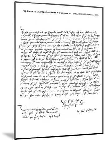 A Letter from Miles Coverdale, Bishop of Exeter, to Thomas Lord Cromwell, 1538-Miles Coverdale-Mounted Giclee Print