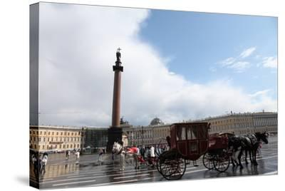 Horse-Drawn Carriage in Palace Square, St Petersburg, Russia, 2011-Sheldon Marshall-Stretched Canvas Print