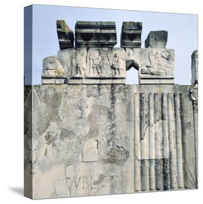 Monument to Cartilius Poplicola, Ostie, Rome- Lorenzini-Stretched Canvas Print