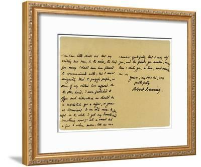 Letter from Robert Browning to William G Kingsland, 27th November 1868-Robert Browning-Framed Giclee Print