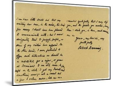 Letter from Robert Browning to William G Kingsland, 27th November 1868-Robert Browning-Mounted Giclee Print