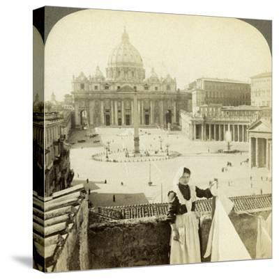 St Peter's Square and Basilica and the Vatican, Rome, Italy-Underwood & Underwood-Stretched Canvas Print