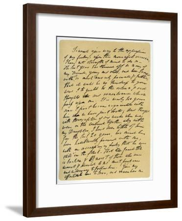 Letter from William Wordsworth on the Death of Samuel Taylor Coleridge, 29th July 1834-William Wordsworth-Framed Giclee Print