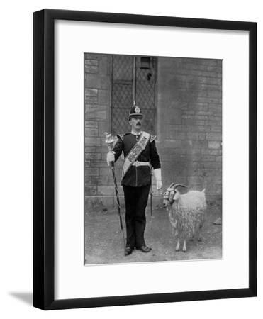 The Drum Major and Goat of the 1st Battalion the Welch Regiment, 1896-WM Crockett-Framed Giclee Print