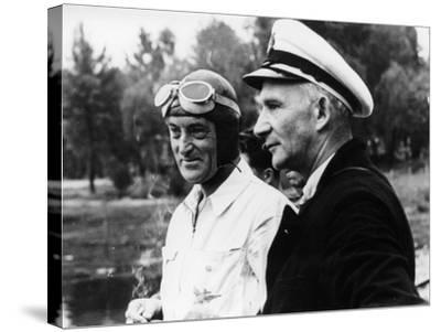 Sir Malcolm Campbell, on the Left, Possibly at Coniston, 1939--Stretched Canvas Print