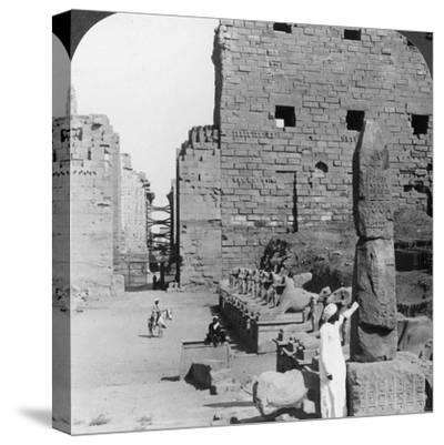 Avenue of Sacred Images after Excavation, Karnak, Thebes, Egypt, C1900-Underwood & Underwood-Stretched Canvas Print