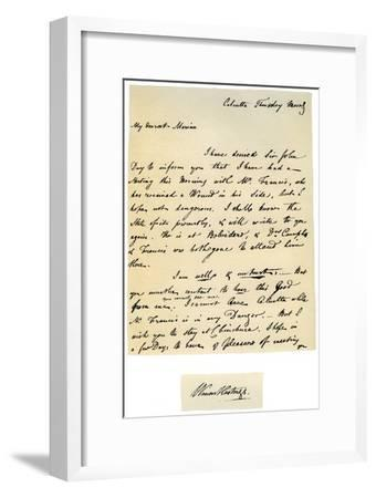Letter from Warren Hastings, Governor-General of Bengal to His Wife, 17th August 1780-Warren Hastings-Framed Giclee Print