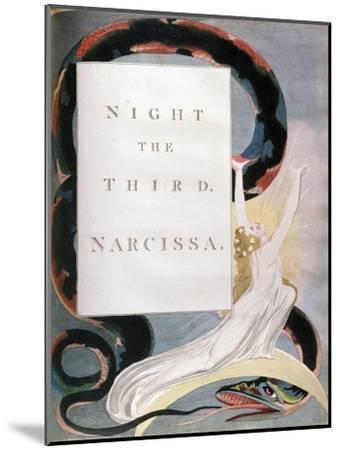 Night the Third Narcissa, Title-Page from the 'Nights' of Edward Young's Night Thoughts, C1797-William Blake-Mounted Giclee Print