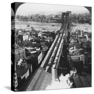Brooklyn Bridge, New York City, New York, USA, Late 19th or Early 20th Century-Underwood & Underwood-Stretched Canvas Print