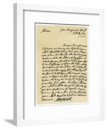 Letter from James, Duke of Monmouth to the Catherine of Braganza, Ringwood, 9th July, 1685--Framed Giclee Print