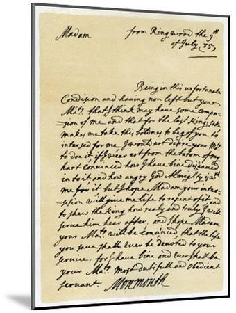 Letter from James, Duke of Monmouth to the Catherine of Braganza, Ringwood, 9th July, 1685--Mounted Giclee Print