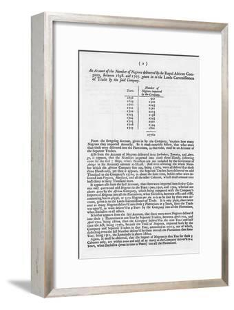 Slavery Accounts, 1698-1701--Framed Giclee Print