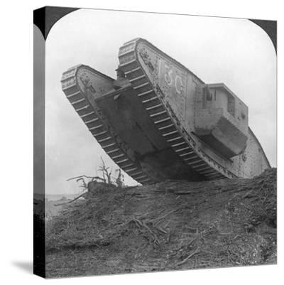 A Tank Breaking Through the Wire at Cambrai, France, World War I, C1917-C1918--Stretched Canvas Print