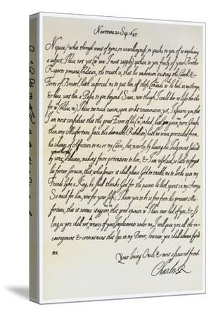Letter from Charles I to His Nephew, Prince Maurice, 20th September 1645--Stretched Canvas Print