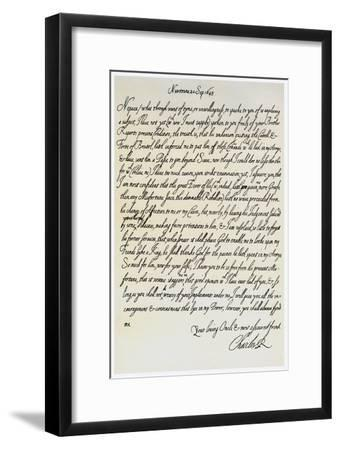 Letter from Charles I to His Nephew, Prince Maurice, 20th September 1645--Framed Giclee Print