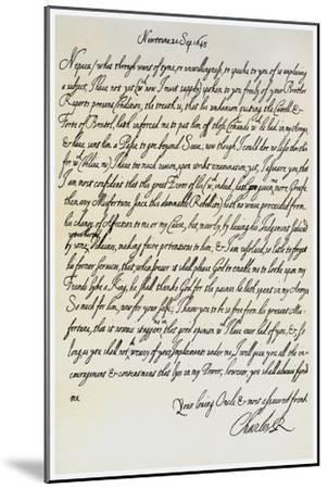 Letter from Charles I to His Nephew, Prince Maurice, 20th September 1645--Mounted Giclee Print