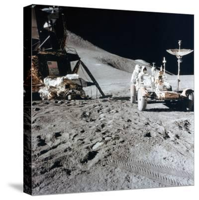 James Irwin (1930-199) with the Lunar Roving Vehicle During Apollo 15, 1971--Stretched Canvas Print