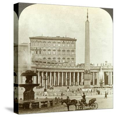 The Vatican Palace from St Peter's Square, Rome, Italy-Underwood & Underwood-Stretched Canvas Print