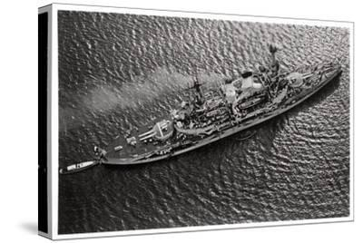 Aerial View of the German Battleship Sms 'Schlesien, from a Zeppelin, C1931--Stretched Canvas Print