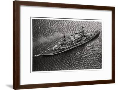 Aerial View of the German Battleship Sms 'Schlesien, from a Zeppelin, C1931--Framed Giclee Print