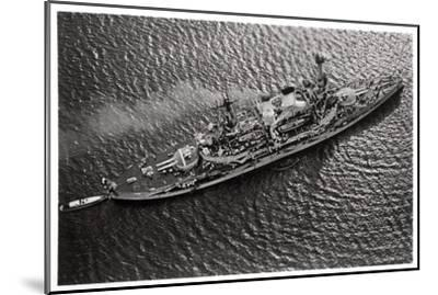 Aerial View of the German Battleship Sms 'Schlesien, from a Zeppelin, C1931--Mounted Giclee Print