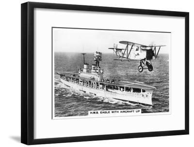 The Aircraft Carrier HMS 'Eagle' and a Fairey Flycatcher Aircraft--Framed Giclee Print