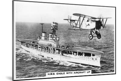The Aircraft Carrier HMS 'Eagle' and a Fairey Flycatcher Aircraft--Mounted Giclee Print