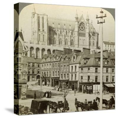 Cathedral and Main Street, Queenstown, Ireland, C Late 19th Century-Underwood & Underwood-Stretched Canvas Print