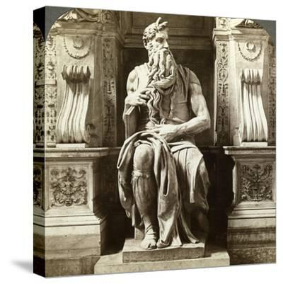 Michelangelo's Statue of Moses, Church of San Pietro in Vincoli, Rome, Italy-Underwood & Underwood-Stretched Canvas Print