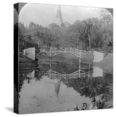 Fortress Gardens and the Shwedagon Pagoda, Rangoon, Burma, C1900s-Underwood & Underwood-Stretched Canvas Print