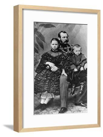 Tsar Alexander II of Russia with His Daughter Maria and Son Sergei, C1860-C1862--Framed Giclee Print